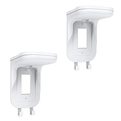 WALI Wall Bathroom Shelf Standard Vertical Duplex GFCI Décor Outlet for Cell Phone, Dot, Google Home, Speaker up to 20lbs with Cable Management and Detachable Hooks (OSH002-W), White, 2 Packs