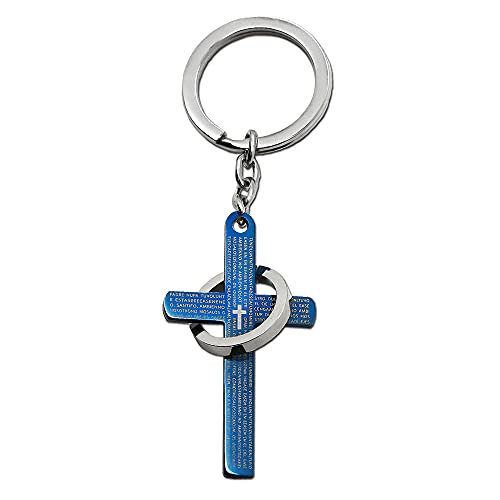 tumundo Edelstahl Schlüssel-Anhänger Schlüsselring Autoschlüssel Schlüsselbund Kreuz Vaterunser Gebet Ring Strass Damen, Variante_:Variante 1