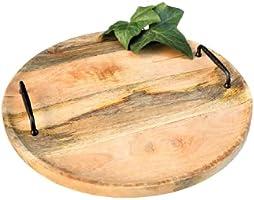 Holztablett mit Griffen, edel rustikal, Landhausdeko, rund