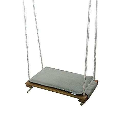 Skyline Holz Schaukelsitz, Erwachsene Kinder Garten Schaukel für Innen und Außenbereich mit Einstellbares Seil bis 150 kg (Natürlich & Grau)