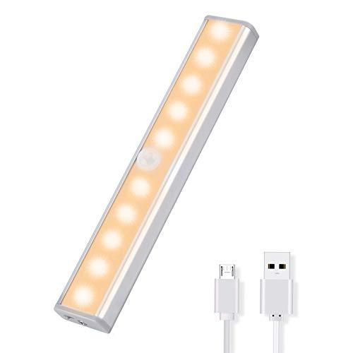 OUSFOT Luce Armadio Led Guardaroba con Sensore di Movimento con USB 10 LED Luci Camera da Letto con Striscia Magnetica Adesiva,Luci da Esposizione (Luce Bianca Calda)