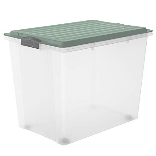 Rotho Compact Aufbewahrungsbox Deckel, Kunststoff (PP) BPA-frei, türkis/transparent, 70l, (57 x 39,5 x 43,5 cm)