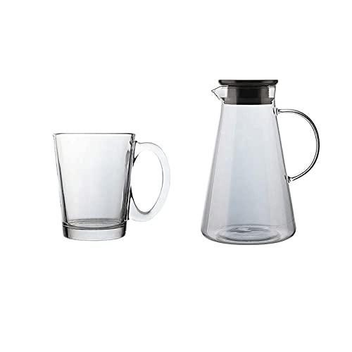 Dabeigouzbolb Glaser Trinkgläser Set von 7, dauerhafte Glasschalen mit Griff - 6 Tassen und 1 Wasserkocher, 7-teiliges Glaswarensatz (Color : Gray)
