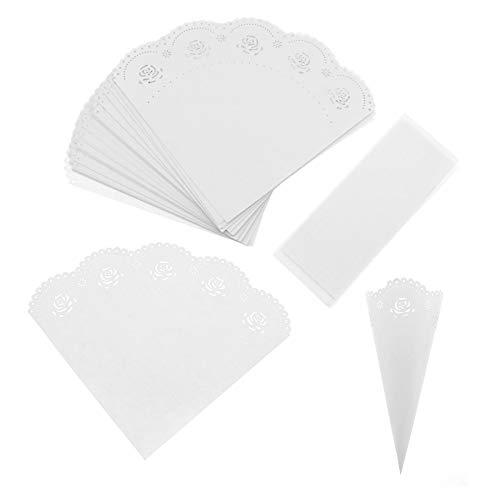 50 Stks Rose Bruiloft Confetti Kegels Kant Leggen Petal Snoep Papier Kegels voor Bruiloft Party Favors Wit