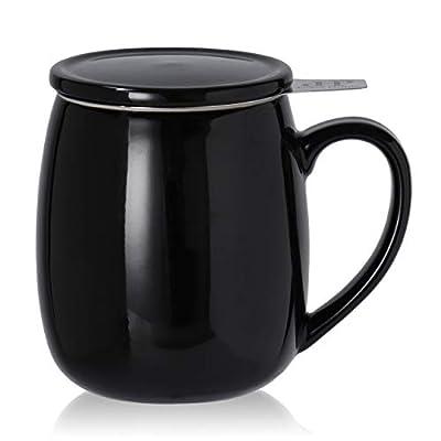 Peacehome Tea Cup Infuser Lid: 17.5 OZ Large Ceramic Tea Mug with Strainer & Cover for Steeping Cup of Hot Tea or Coffee - Fine Porcelain Infuser Tea Mug Set for Work Life Gift (Black)