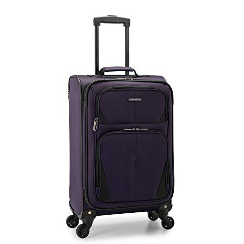 U.S. Traveler Aviron Bay Expandable Softside Luggage with Spinner Wheels, Purple, Carry-on 23-Inch