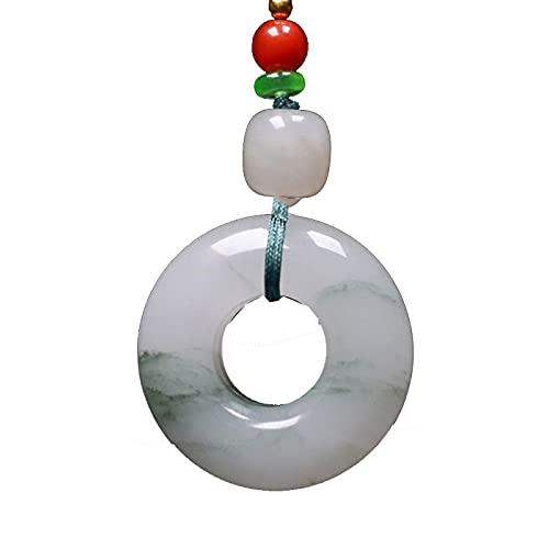Colgantes de jade natural Donuts de neumáticos Collar de jadeíta verde Joyería de mujer Colgantes de talismán Joyería de jade