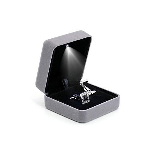 Preisvergleich Produktbild KINTRADE Aufbewahrungsbox für Manschettenknöpfe und Ringe mit LED-Licht,  für Geschenkverpackung,  kleine Teile,  Zubehör für Haushalt