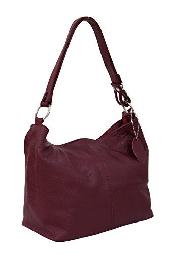 AMBRA Moda Damen Leder Handtasche Schultertasche Umhängetasche Hobo bag GL005 (Bordeaux)