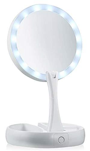 Bingo-Shop Kosmetikspiegel mit LED Beleuchtung Tischspiegel mit Vergrößerung Rasierspiegel Kompakter Faltbarer Schminkspiegel mit Bleuchtung Rasieren Weiß