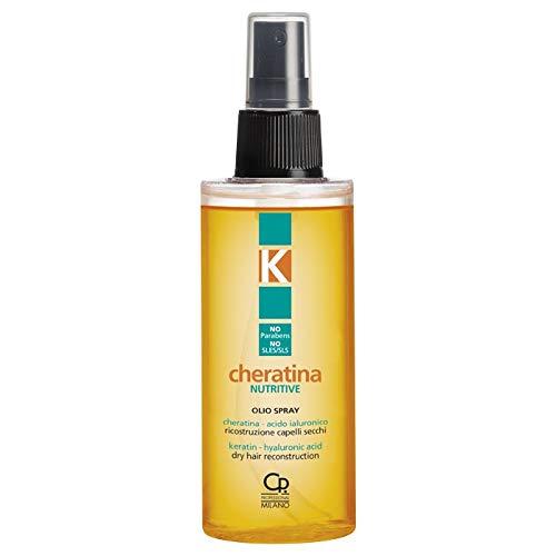 K-Cheratina - Spray d'huile Nutritive Réparatrice à la Kératine Hydrolysée - Reconstruction des Cheveux Secs et Abîmés - Formule Enrichie en Acide Hyaluronique - Flacon de 100 ml