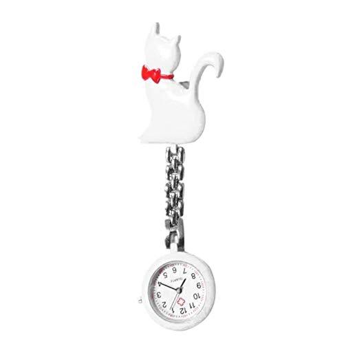 Mode Quarz-Uhr-Katzen-Cartoon-Taschen-Uhren Hang Clip-Frauen-Dame-Charme-Silber-Anhänger Nette hängend für Nurse Doctor Taschenuhren (Color : White)