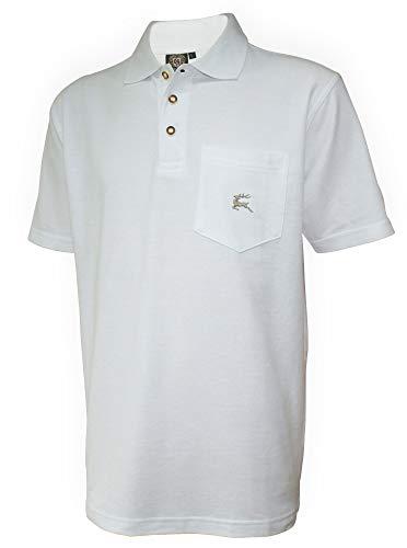 Poloshirt Trachtenhemd Trachten-Hemd Trachtenpolo Trachten-Shirt Polohemd Weiss Polo Trachtenshirt mit Brust-Tasche und Hirsch-Stickerei, Größe:L