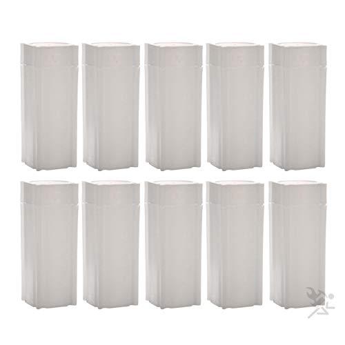 (10) Coinsafe Brand Square White Plastic (Quarter) Size Coin Storage Tube Holders