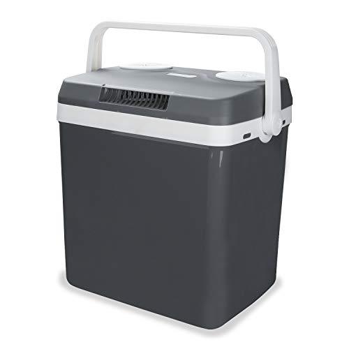 Hengda Kühlbox tragbare 32 Liter, Thermo-Elektrische Kühlbox, WÄRMT und KÜHLT, Mini-Kühlschrank 12 Volt und 230 Volt, ECO-Modus, mit Tragegriff, für Auto, Innenraum, Camping