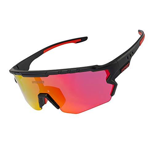 Fahrradbrille Sportbrille Radsportbrille, Half-Frame-Fahrbrille mit 3 Wechselgläsern, UV-Schutz-Reitbrille Für Skifahren/Laufen/Radfahren/Golf (Red Lens & Black Frame)