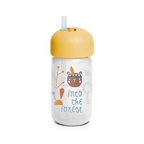 Suavinex 401207 Bicchiere Baby Training Cup Con Cannuccia Flessibile E Sistema Antigoccia, Da 18 Mesi, Forest Colore Giallo - 340Ml - 103 g