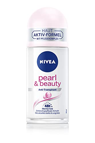 NIVEA Pearl & Beauty Deo Roll-On (50 ml), Anti-Transpirant schützt 48h vor Schweiß und Körpergeruch, pflegendes Roll-On mit Perlenextrakten