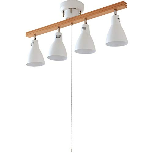 アイリスオーヤマシーリングライト4灯スポットライトストレートタイプウッドフレーム天然木レトロ調LED対応簡単取付インテリア照明間接照明おしゃれ北欧ホワイトPCL-SW401-W
