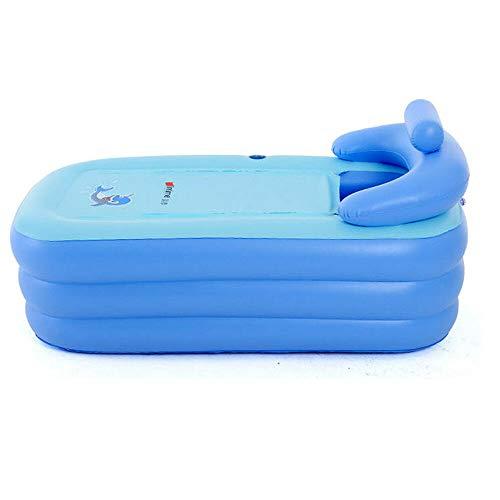 Baignoire Gonflable en PVC Pliable pour Adulte Baignoire Portable pour la Maison et le Voyage (Sans pompe) (Bleu)