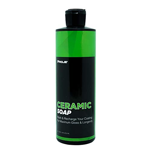 PROJE' Ceramic Soap - Recharge Your Ceramic Coating, Wax, or Sealant - SiO2 Car Cleaner Leaves Your Car with Amazing Shine and Gloss - ph Neutral Detailing Protective Wash Soap - 16 Fluid Ounce