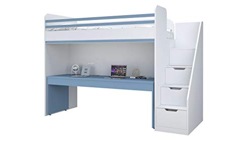 Polini City Hochbett Kombination mit Treppe und großem Schreibtisch blau