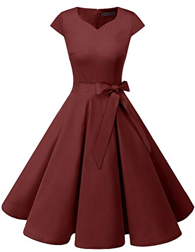 Dresstells Damen Vintage 50er Cap Sleeves Rockabilly Swing Kleider Retro Hepburn Stil Cocktailkleid Burgundy M