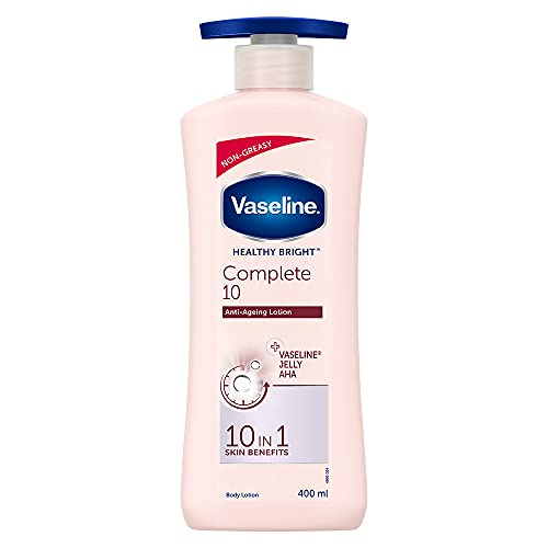 Vaseline Healthy Bright Complete 10 Body Lotion, Anti- Ageing Lotion With Vitamin B3, Aha, Pro-Retinol, 400 ml