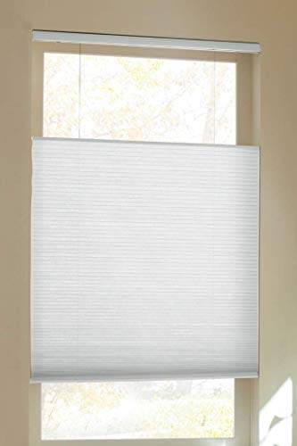 "Trader Blinds Cordless Top Down Bottom Up Cellular Shade White 72"" W x 64"" H"