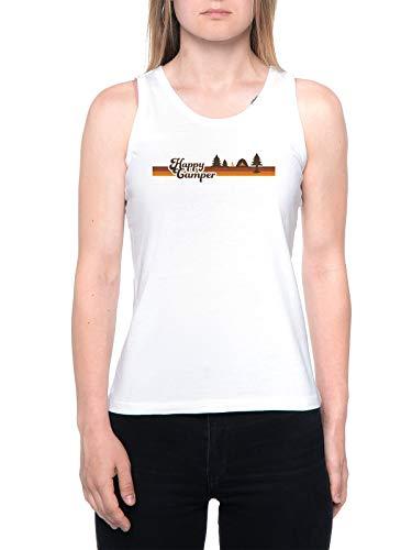 Happy Camper 70s Camiseta De Tirantes Mujer Blanca Tank T-Shirt Women's White