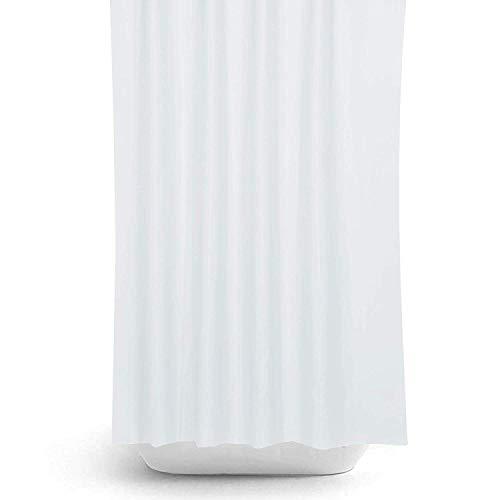 Zethome Cortina de Baño 180x200 cm Blanca Original Antimoho Impermeable Lavable Antibacteriana Poliester Tela con Anillas de Cortina Ducha Estiloso Bano Moderno