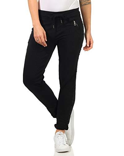 ZARMEXX Damen Hose Sweatpants Vintage Baumwolle Freizeithose mit Zierstreifen 816133 Business Casual Jogstyle,,Schwarz,M