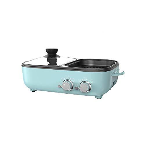 SXXYTCWL Barbacoa Hot Pot Integrado Portátil Calefacción rápida Cocina eléctrica Hogar Pequeño Plug-in Ajustable Temperatura Temperatura Barbacoa Non-Stick y Fácil de Limpiar (Rosa) (Color : Azul)
