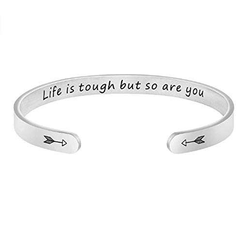 ZSDN Inspirational Bracelet Stainless Steel Engraved Open Bangle Bracelet for Women Teenage Girls Family Friend Hand Jewelry, Life is Tough But So are You