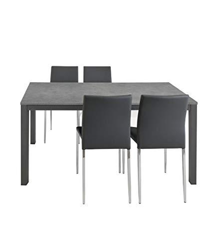 Spazio Casa Tavolo Grigio allungabile Moderno da Cucina - 160 x 90, Grigio