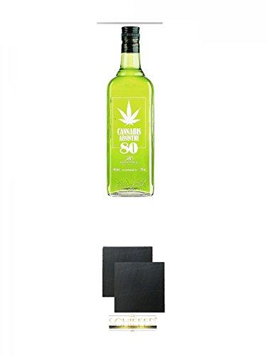 Antonio Nadal Cannabis Absinthe 80 0,7 Liter + Schiefer Glasuntersetzer eckig ca. 9,5 cm Ø 2 Stück