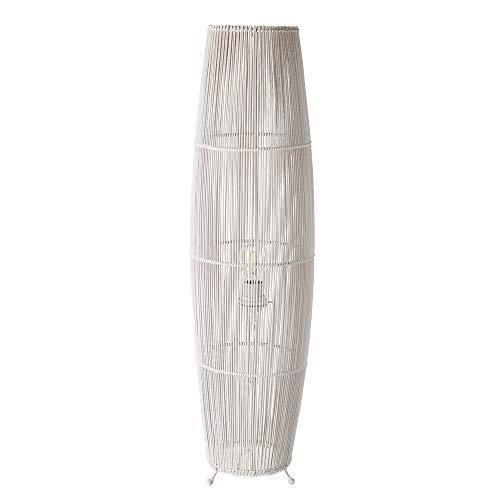Lámpara de pie de cañas exótica de bambú y metal blanca,