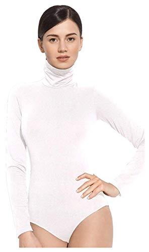 Gatta Body de golf elegante de manga larga con cuello alto sin costuras laterales. Blanco M