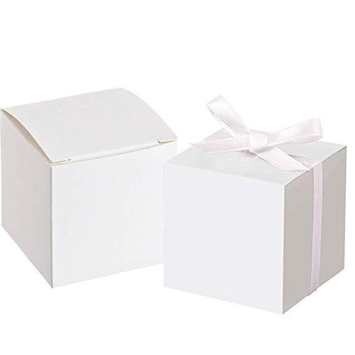 Awtlife Scatole quadrate per bomboniere/dolci con 50 fiocchi, ideali per feste nuziali, 5 cm, colore bianco, 50 pezzi
