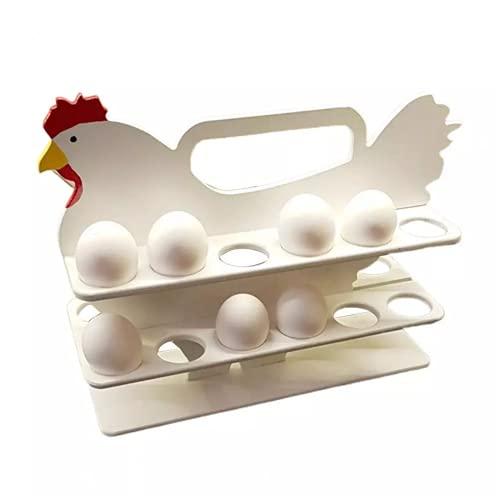 Huevera de madera con forma de pollo,Estante de madera para encimera portátil de madera con forma de gallina ,para El Hogar, Cocina