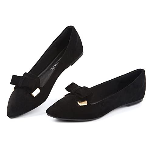 MUSSHOE Ballet Flats for Women Comfortable Women's Flats Memory Foam Slip on Pointed Toe Flats Shoes Women,Black Bow 7