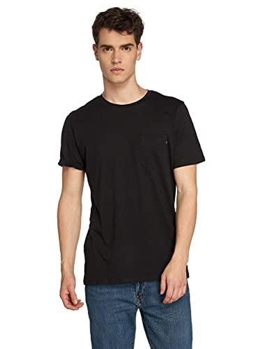 Jack & Jones Jjepocket tee SS O-Neck Noos Camiseta, Negro (Black Detail: Slim Fit), Medium para Hombre