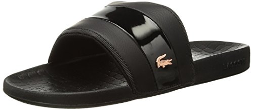 Lacoste Fraisier - Chanclas para mujer, Black/Pnk Synthetic, 5 US