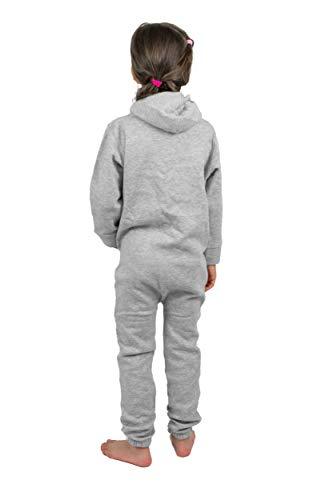 Gennadi Hoppe Kinder Jumpsuit Overall Jogger Trainingsanzug Mädchen Anzug Jungen Onesie,hell grau,7-8 Jahre - 2