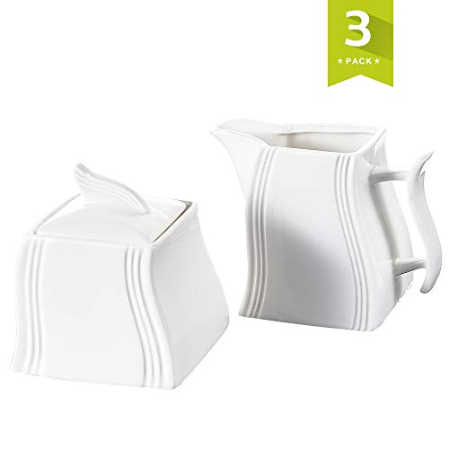 MALACASA, Serie Flora, 3-teilig CremeWeiß Porzellan Milch und Zucker Set mit Deckel, Milchkännchen Zuckerdose Milch- & Zuckerbeh?lter Küchenhelfer