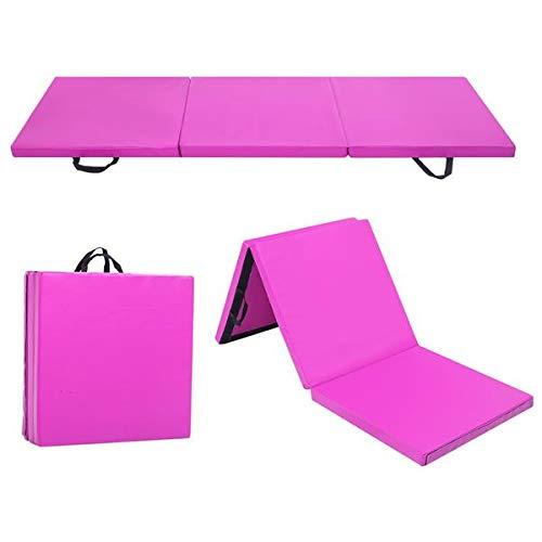 Turnmatte Weichbodenmatte Klappbar für zuhause Fitnessmatte Gymnastikmatte rutschfeste Sportmatte Spielmatte, 3-Fach Faltbare,180 x 60 x 5 cm (Lila)