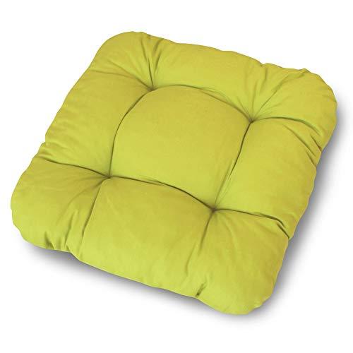 LILENO HOME 6er Set Stuhlkissen Grün (38x38x8 cm) - Sitzkissen für Gartenstuhl, Küche oder Esszimmerstuhl - Bequeme UV-beständige Indoor u. Outdoor Stuhlauflage als Stuhl Kissen