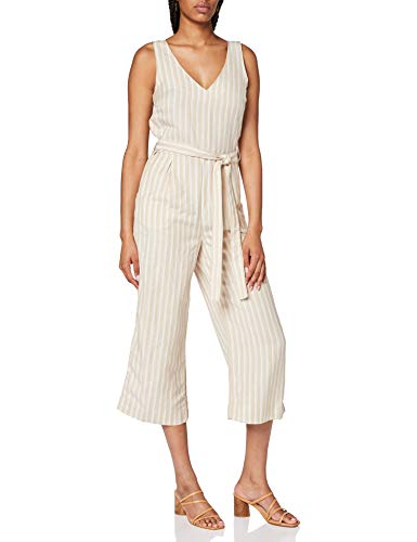 TOM TAILOR Damen Jumpsuits Overall, Braun ( 22785 - cream toffee offwhit ) , 34