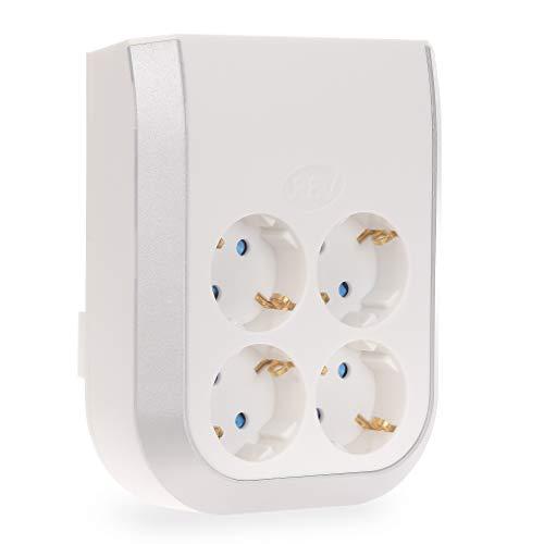 Mehrfachsteckdose 4-fach – Erweitert Ihren Bedarf an Steckdosen im Handumdrehen - Mehrfachstecker Steckdose Multi Power ohne Kabel, edles Design