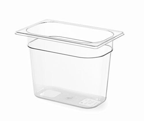 HENDI Gastronormbehälter, Temperaturbeständig von -40° bis 110°C, Skalierung, Geruchs- und geschmackneutral, 5,5L, Polycarbonat, GN 1/4, 265x162x(H)200mm, Transparent